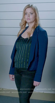 Ali's blue and green striped top on Pretty Little Liars