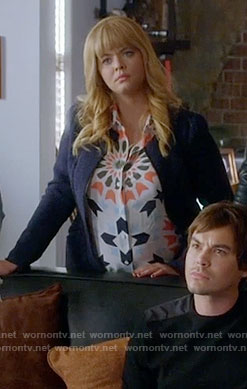 Ali's geometric print top on Pretty Little Liars