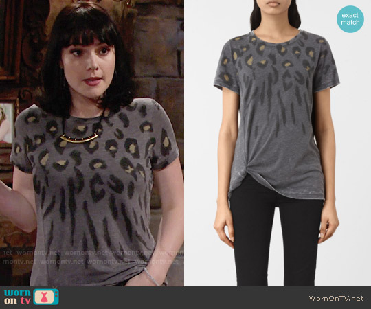 All Saints Lao Mellon Tee worn by Tessa Porter (Cait Fairbanks) on The Young & the Restless