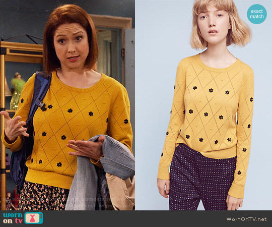 Anthropologie Diamond Daisy Pullover worn by Ellie Kemper on Unbreakable Kimmy Schmidt