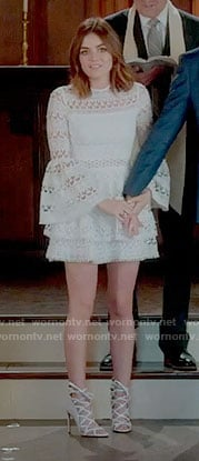 Aria's short wedding dress on Pretty Little Liars