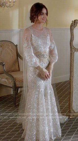 Aria's long sleeved wedding gown on Pretty Little Liars