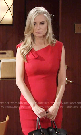 Ashley's red dress with folded neckline on The Young and the Restless