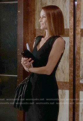 Ashley's black v-neck dress with lace back on Pretty Little Liars