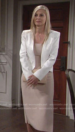 Ashley's beige midi dress and white textured jacket on The Young and the Restless