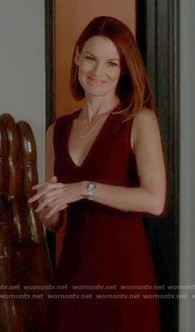 Ashley's burgundy v-neck dress on Pretty Little Liars