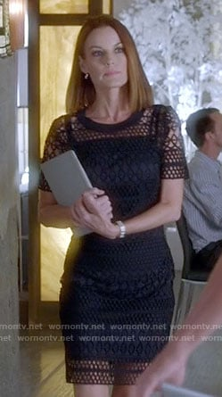 Ashley's navy lace overlay dress on Pretty Little Liars