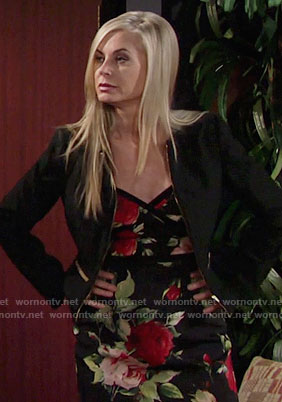 Ashley's black rose print dress on The Young and the Restless