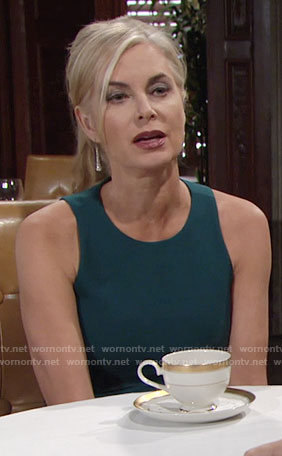 Ashley's teal dress with thigh split on The Young and the Restless