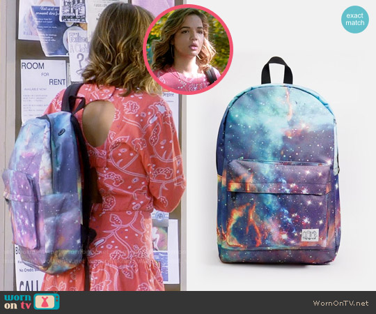 ASOS Spiral Galaxy Neptune Backpack worn by Georgie Flores on Famous in Love