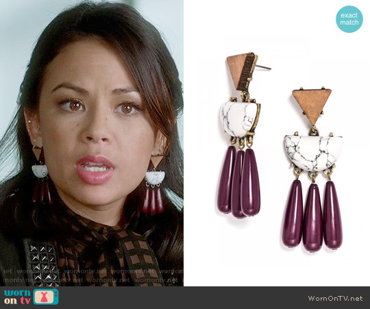 Baublebar Koa Drops worn by Janel Parrish on PLL