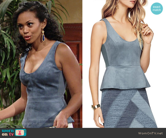 Bcbgmaxazria Cladiana Top worn by Hilary Curtis (Mishael Morgan) on The Young & the Restless