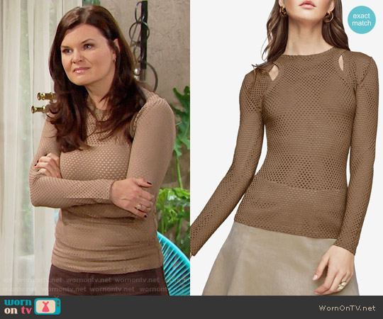 Bcbgmaxazria Mercy Cutout Mesh Top worn by Heather Tom on The Bold & the Beautiful
