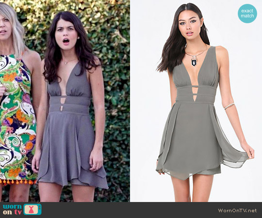 Bebe Tulip Skirt Plunge Dress worn by Sofia Black D'Elia on The Mick
