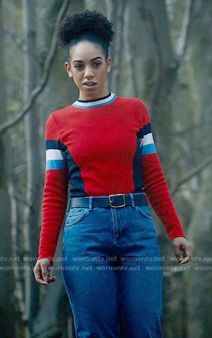 Bill's red colorblock sweater on Doctor Who