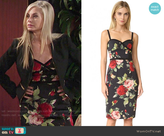 Black Halo Daria Dress in Petal Pusher worn by Ashley Abbott (Eileen Davidson) on The Young & the Restless