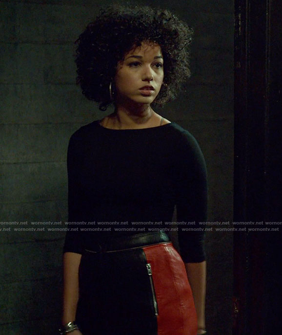 Maia's black lace-up back top and leather mini skirt on Shadowhunters