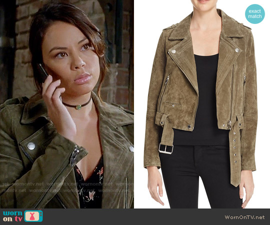 Blank NYC Suede Moto Jacket worn by Janel Parrish on PLL