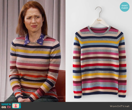 Boden Cashmere Crew Neck Sweater in Multi Stripe worn by Kimmy Schmidt (Ellie Kemper) on Unbreakable Kimmy Schmidt