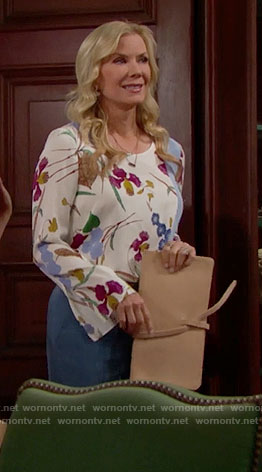 Brooke's floral blouse with blue panel on The Bold and the Beautiful