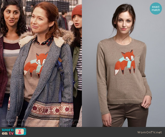 Brooklyn Industries Too Foxy Sweater worn by Ellie Kemper on Unbreakable Kimmy Schmidt
