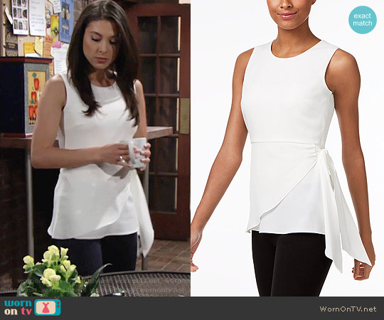 Calvin Klein Faux-Wrap Shell worn by Laur Allen on The Young & the Restless