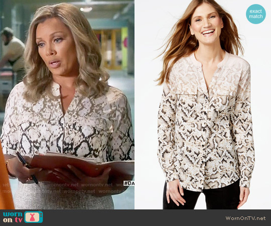 Calvin Klein Snakeskin-Print Utility Shirt worn by Vanessa Williams on Daytime Divas