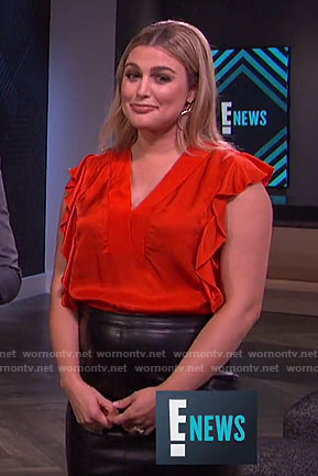 Carissa's red ruffled v-neck top on E! News