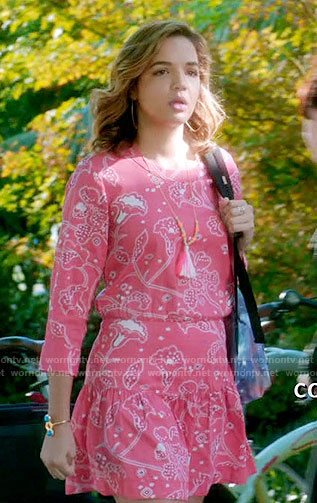 Cassie's coral pink paisley print dress on Famous in Love