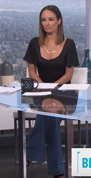 Catt's black button front top on E! News Daily Pop