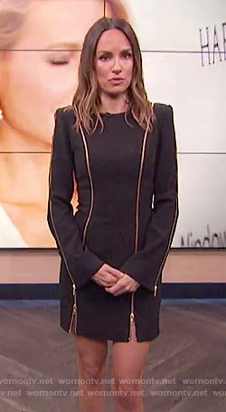 Catt's black dress with gold zips on E! News