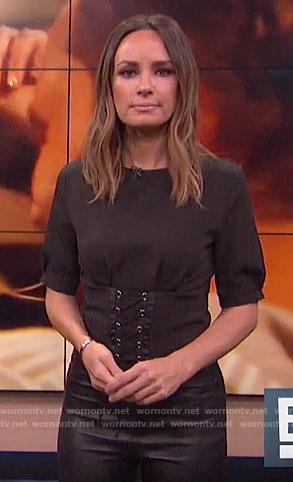 Catt's black corset top on E! News