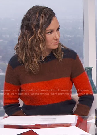 Catt's striped sweater on E! News Daily Pop