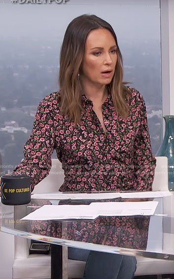 Catt's floral button down shirt on E! News Daily Pop
