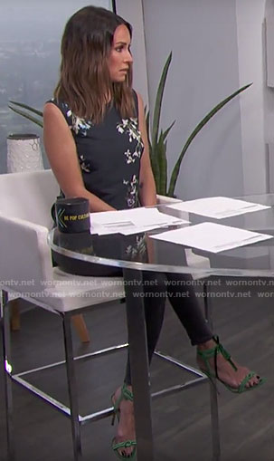 Catt's floral top and green sandals on E! News Daily Pop