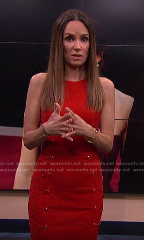 Catt's red dress with lace-up sides on E! News