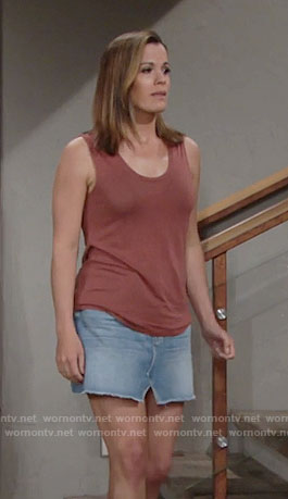 Chelsea's denim skirt and tank top with back cutouts on The Young and the Restless
