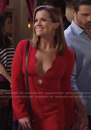 Chelsea's red scalloped trim dress on The Young and the Restless