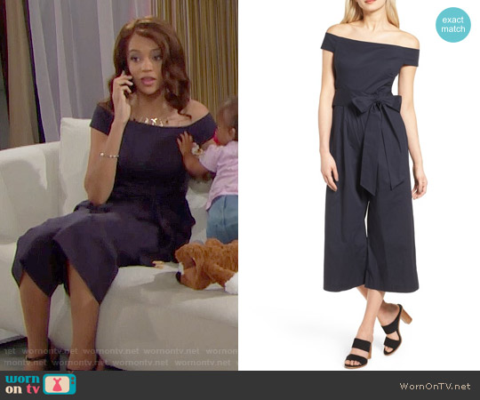 Chelsea28 Off the Shoulder Culotte Jumpsuit worn by Nicole Avant (Reign Edwards) on The Bold & the Beautiful