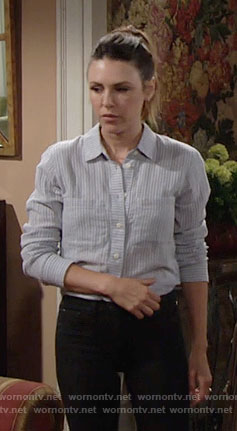 Chloe's striped tie-back shirt on The Young and the Restless