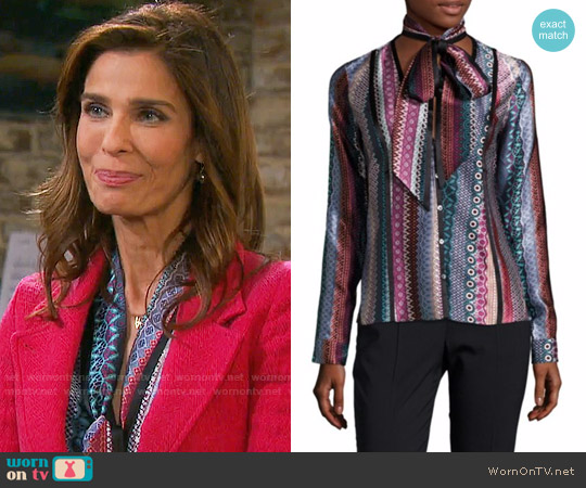 Cinq a Sept Embry Blouse worn by Hope Williams (Kristian Alfonso) on Days of our Lives