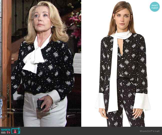Cinq a Sept Stardust Rowan Silk Floral Top worn by Melody Thomas-Scott on The Young & the Restless