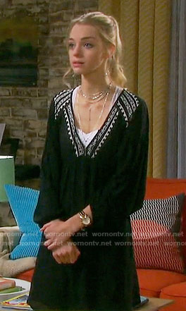 Claire's black embroidered v-neck dress on Days of our Lives