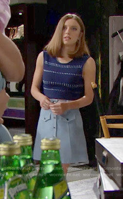 Coco's blue dotted top and button-front skirt on The Bold and the Beautiful