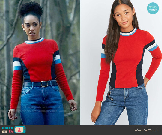 Urban Outfitters Cooperative Colourblock Ski Jumper worn by Bill Potts (Pearl Mackie) on Doctor Who