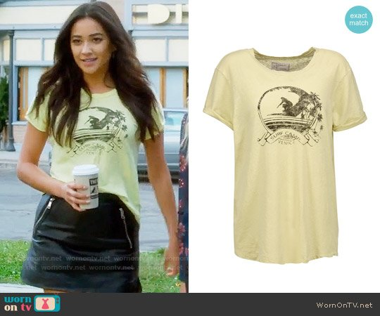 Current Elliott The Rolled Sleeve T-shirt worn by Shay Mitchell on PLL