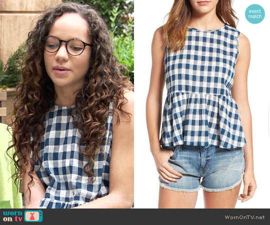Current Elliott The Peplum Gingham Tank worn by Lexie Stevenson on The Young & the Restless