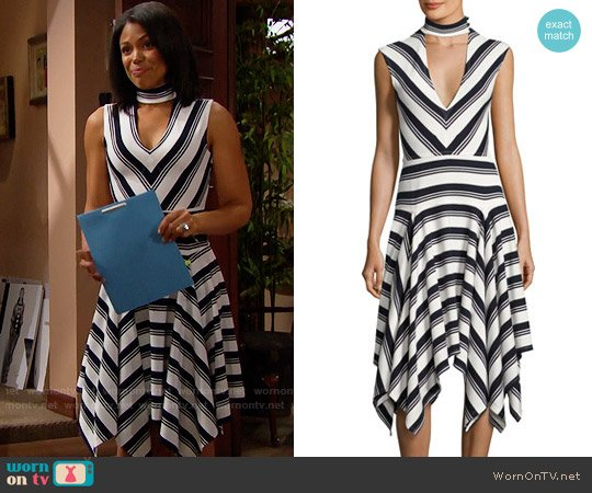 10 Crosby Derek Lam Sleeveless Mitered Stripe Stretch Jersey Dress worn by Maya Avant (Karla Mosley) on The Bold & the Beautiful