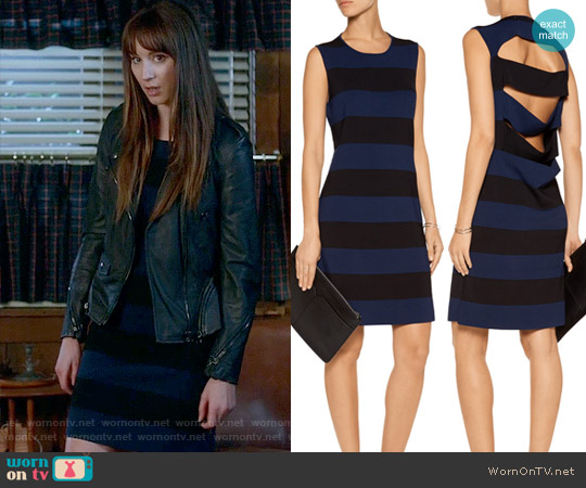 10 Crosby Derek Lam Cutout striped knitted mini dress worn by Spencer Hastings (Troian Bellisario) on PLL