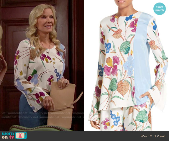 Diane von Furstenberg Slit Sleeve Print Stretch Silk Blouse worn by Katherine Kelly Lang on The Bold & the Beautiful